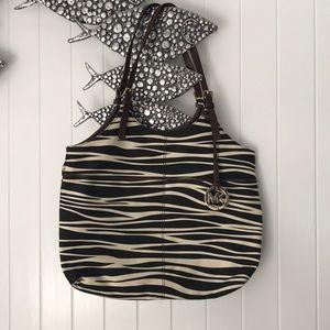 Michael Kors Zebra Print Canvas and Leather Bag